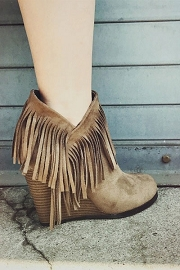 Boho Faux Suede Fringe Ankle Booties with Side Cut Out & Wedge Heel-Taupe