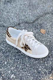 Leopard Print Lace Up Low Top Star Sneakers-Beige Brown