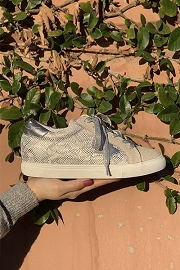 Python Snake Print Metallic Lace Up Low Top Star Sneakers-Silver