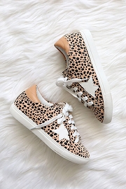 Animal Print Lace Up Low Top Star Sneakers-Leopard Print