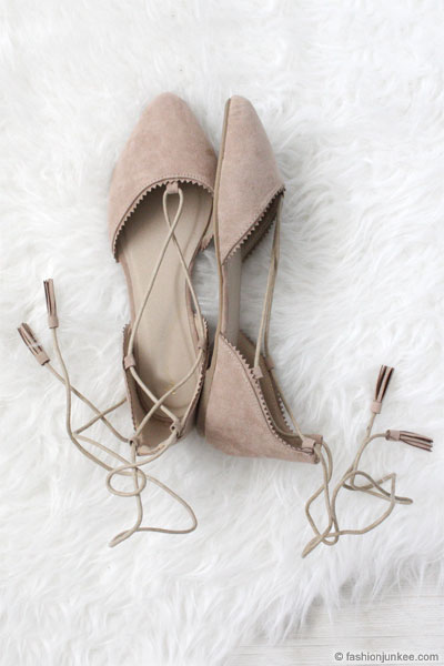 a98377fd207c Faux Suede Pointy Toe Strappy Lace Up Ballet Flats-Nude Beige