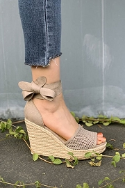 Lace Up Ankle Strap Perforated Open Toe Wedge Espadrille Sandals-Clay Taupe Grey