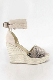 Lace Up Ankle Strap Perforated Open Toe Wedge Espadrille Sandals-Python Snake Print