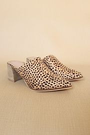 Pointy Toe Closed Toe Mules Slides with Block Heel-Cheetah Leopard Print