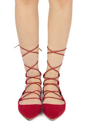 FLASH DEAL: Faux Suede Pointy Toe Strappy Ballet Ballerina Lace Up Flats-Red