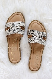 Twist Band Gold Trim Sandals Slides-Python Snake Print
