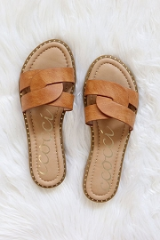 Twist Band Gold Trim Sandals Slides-Tan Brown