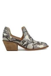 Faux Suede Side Cutout Closed Toe Slip On Ankle Booties-Snake Skin Print