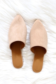 Faux Suede Pointy Toe Closed Toe Flat Mules Sandals Slides-Taupe