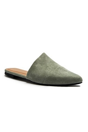 Faux Suede Assymetrical Pointy Toe Closed Toe Flat Mules Sandals Slides-Olive Green