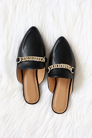 Chain Faux Leather Pointy Toe Closed Toe Flat Mules Slides-Black