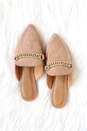 Chain Faux Suede Pointy Toe Closed Toe Flat Mules Slides-Taupe
