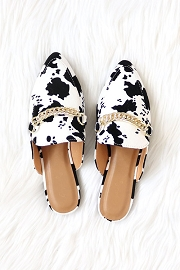 Chain Faux Suede Pointy Toe Closed Toe Flat Mules Slides-Cow Print