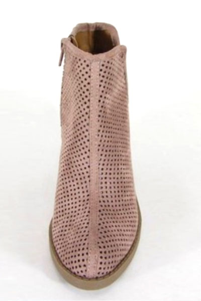 caf7f0949 Closed Toe Perforated V Cut Out Ankle Booties with Block Heel-Blush Pink