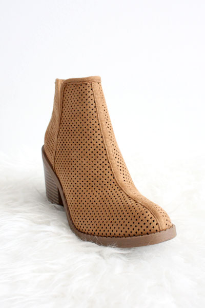 220e99733 Closed Toe Perforated V Cut Out Ankle Booties with Block Heel-Tan Brown