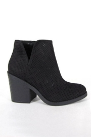 Closed Toe Perforated V Cut Out Ankle Booties with Block Heel-Black