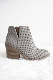 Closed Toe Perforated V Cut Out Ankle Booties with Block Heel-Grey