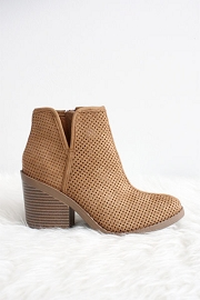 Closed Toe Perforated V Cut Out Ankle Booties with Block Heel-Tan Brown
