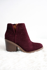 Closed Toe Perforated V Cut Out Ankle Booties with Block Heel-Burgundy Wine