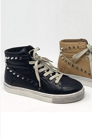 Studded High Top Lace Up Star Sneakers-Black