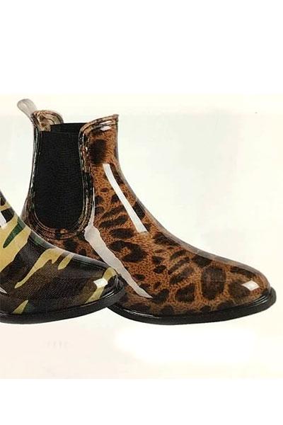 Chelsea Rain Boots-Leopard Print