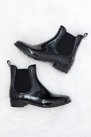 Rubber Slip On Chelsea Rain Boots-Black
