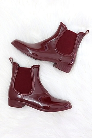 Rubber Slip On Chelsea Rain Boots-Burgundy Wine