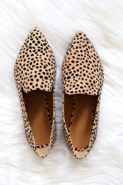 Classic Pointy Toe Closed Toe Loafer Flats Shoes-Leopard Cheetah Print