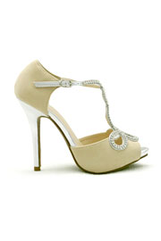 DEAL OF THE DAY! Gorgeous Rhinestone and Faux Suede Wedding Shoes-Nude Beige