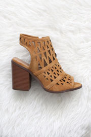 FLASH DEAL: Triangle Cut Out Open Peep Toe Booties-Camel Brown Tan