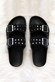 Studded Double Strap Buckle Sandals-Black