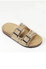 Studded Double Strap Buckle Sandals-Taupe