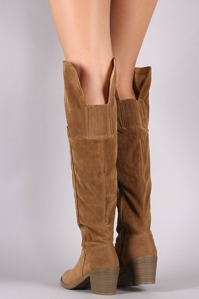 a76af890c5dd Faux Suede Over the Knee Boots with Low Heel-Camel Brown