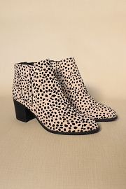 Slip On Almond Toe Stitched Side Booties-Leopard Print