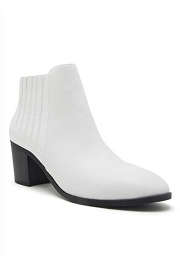 Slip On Almond Toe Stitched Side Booties-White