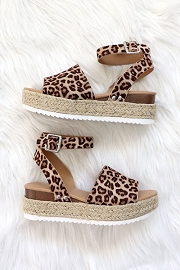 Espadrille Low Platform Flats Sandals with Ankle Strap-Leopard Cheetah Print