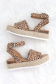Espadrille Low Platform Flats Sandals with Ankle Strap-Leopard Print