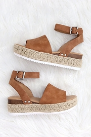 Espadrille Low Platform Flats Sandals with Ankle Strap-Tan Brown