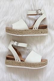 Espadrille Low Platform Flats Sandals with Ankle Strap-White