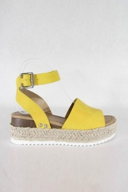 Espadrille Low Platform Flats Sandals with Ankle Strap-Yellow