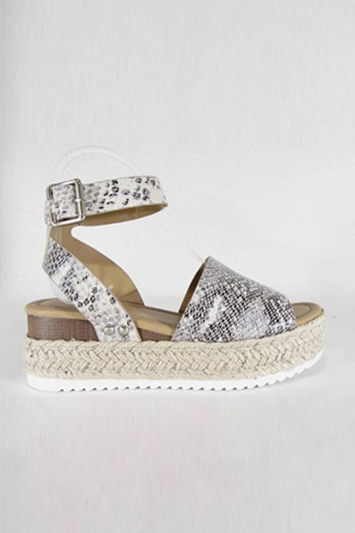 8581915a0def Espadrille Low Platform Flats Sandals with Ankle Strap-Snake Skin Print