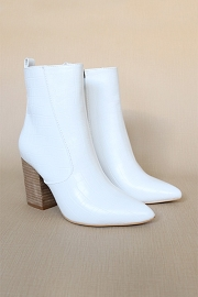 Faux Leather Croc Print High Ankle Boots with Wooden Heel-White Crocodile