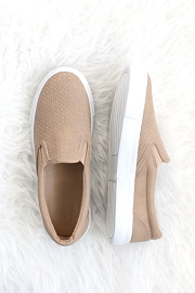 Perforated Casual Slip On Flat Shoes-Camel Brown