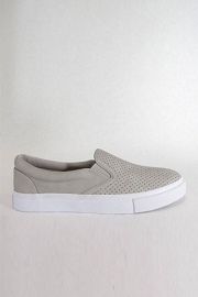 Perforated Casual Slip On Flat Shoes Sneakers-Grey