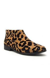 Cheetah Print Studded Closed Toe Ankle Booties with Low Heel-Leopard Print