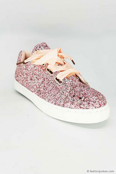 90c7bc2070b26 Satin Ribbon Bow Lace Up Glitter Sneakers-Gold