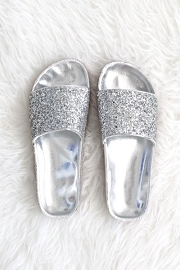 Slip On Glitter Lug Sole Flat Sandals-Silver