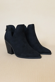 Faux Suede Pointy Toe Side Cutout Booties-Black