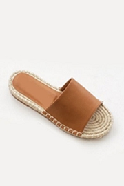 Single Band Espadrille Sole Flat Sandals Slides-Tan Brown