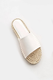 Single Band Espadrille Sole Flat Sandals Slides-White
